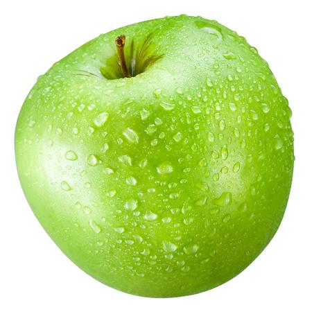 gota: manzana verde con gotas aisladas sobre un fondo blanco Foto de archivo