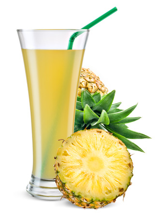 pineapple juice: Glass of pineapple juice with fruit isolated on white. Stock Photo