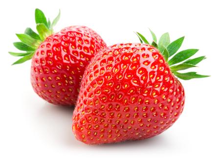 owocowy: Dwa truskawek wyizolowanych na białym tle