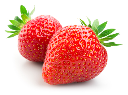 fresh fruits: Two strawberries isolated on white background Stock Photo