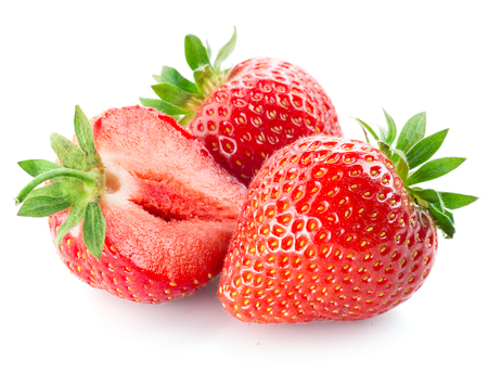 juicy: Fresh strawberry isolated on white background