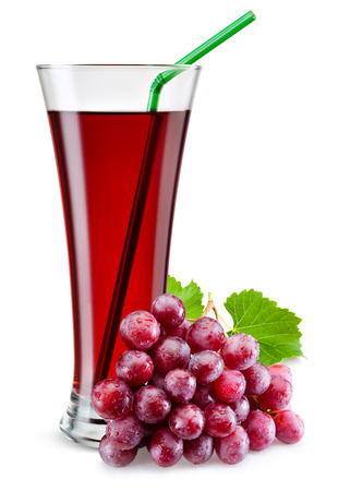 grape juice: Glass of red grape juice with fruit isolated on white.