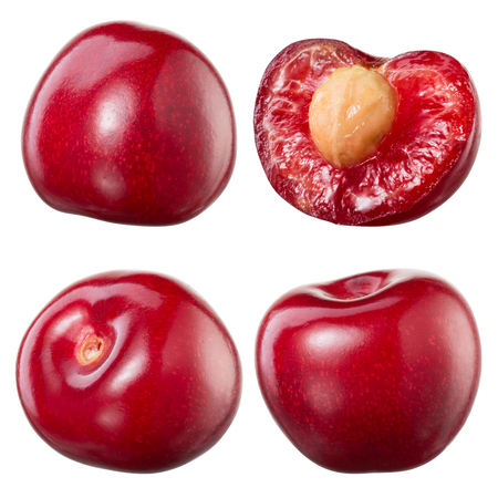 Cherry and a half isolated on white background. Collection Banque d'images