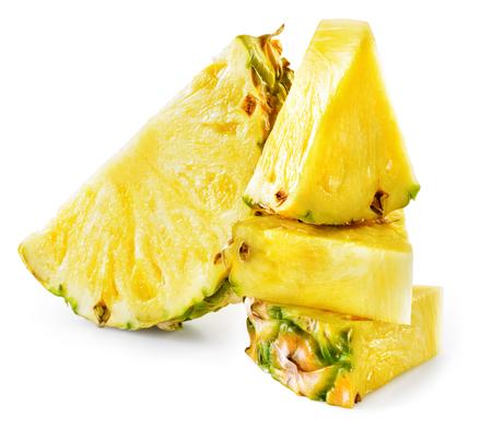 chunk: Pineapple slices isolated on white background. Stock Photo