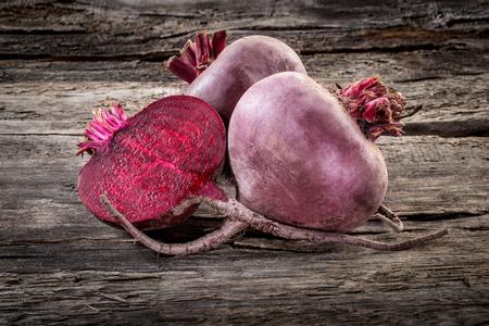 beetroot: Fresh organic beetroot on wooden table, horizontal Stock Photo