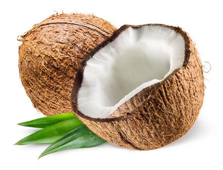 coco: Coco con hojas sobre fondo blanco