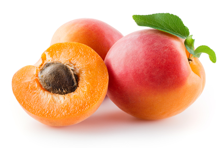apricot kernels: Apricots with leaves on a white background. Stock Photo