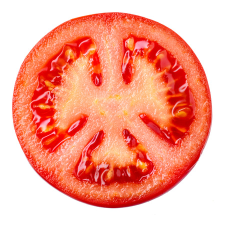Tomato slice isolated on white background, top view Zdjęcie Seryjne