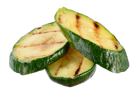 grilled vegetables: Grilled zucchini slices isolated on white background