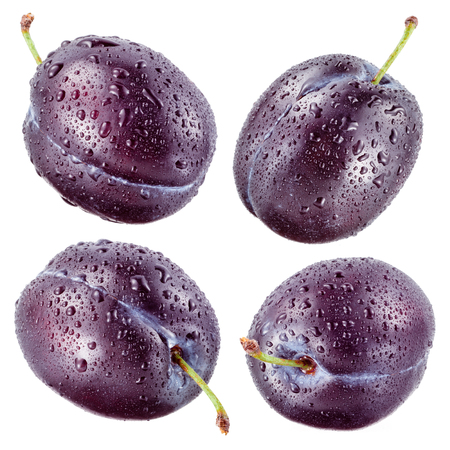 plums: Plum with drops isolated on white. Collection.