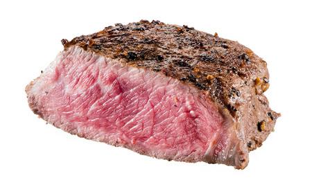 白い背景で隔離牛肉ステーキ 写真素材