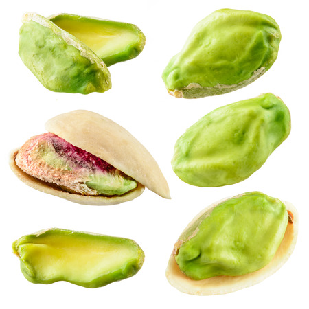Pistachios isolated on a white background. Collection Stock Photo