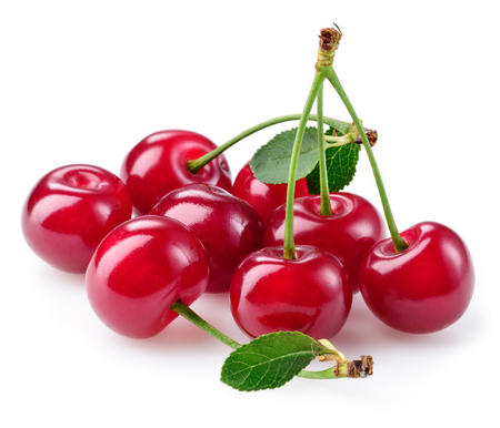 sour cherry: Cherry. Heap of berries isolated on white