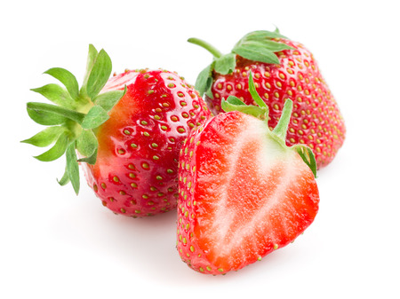Strawberry. Berries with a half isolated on white