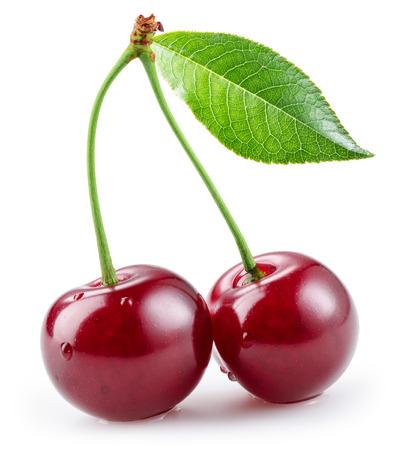 Ripe cherries. isolated on a white background Standard-Bild