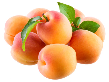 apricots: Apricot. Fruits isolated on white.