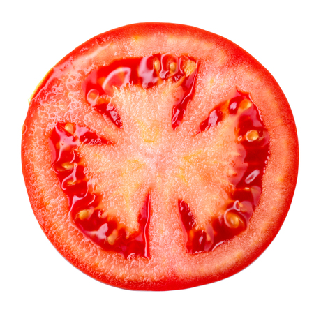 Slice of tomato isolated on white Stock Photo