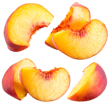 Peach slices isolated on white background Reklamní fotografie - 54837765