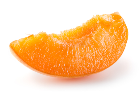 apricot kernel: Apricot slice on a white background.