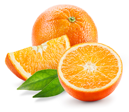Orange fruit. Whole, half and slice with leaves isolated on white Archivio Fotografico