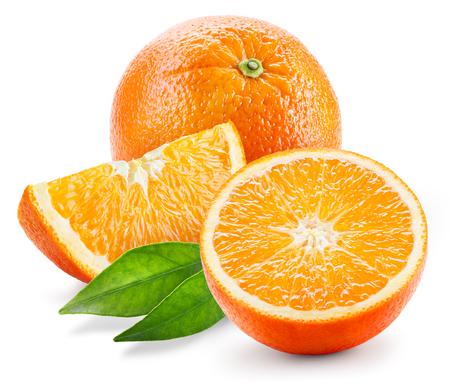 Orange fruit. Whole, half and slice with leaves isolated on white Stockfoto