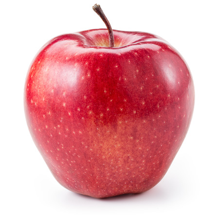 manzana roja: Manzana roja fresca aislada en blanco. Con el camino de recortes Foto de archivo