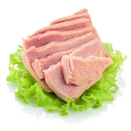 fish isolated: Canned tuna chunks with green salad Stock Photo