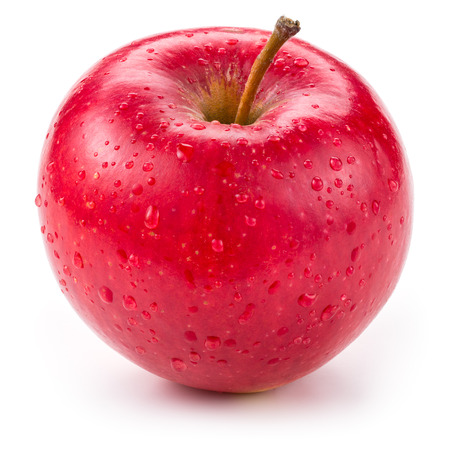 Fresh red wet apple with drops isolated on white.