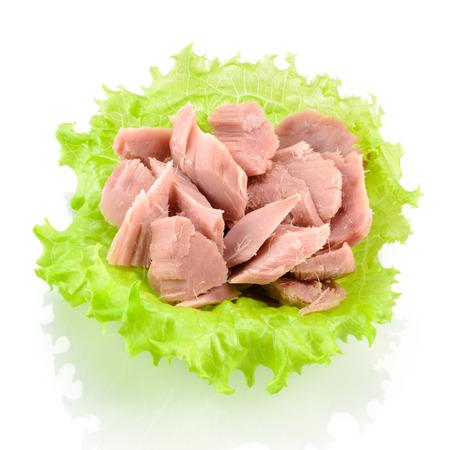 Ingeblikte tonijn met groene salade op wit wordt geïsoleerd