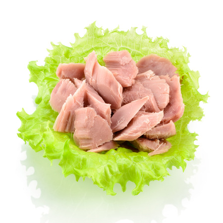 Canned tuna with green salad isolated on white
