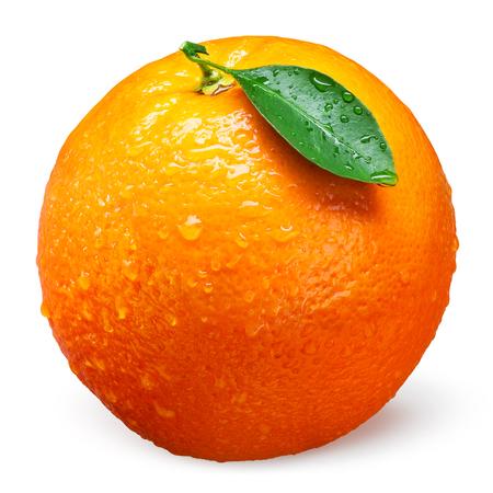 Fresh orange fruit with drops isolated on white