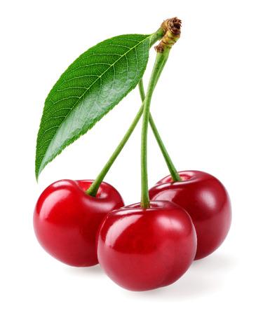 Cherry. Three berries isolated on white background