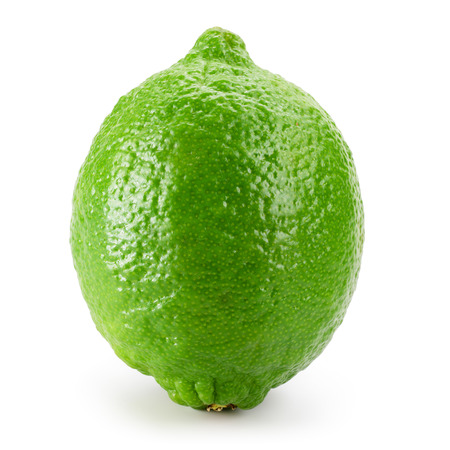 Green lemon fruit isolated on white background. Stok Fotoğraf
