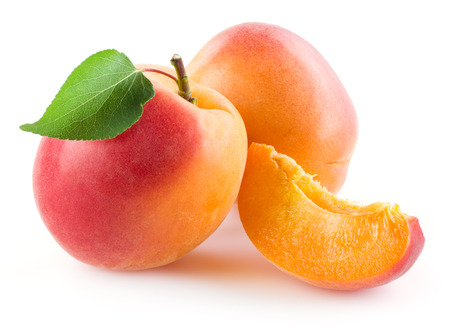 apricot kernel: Apricot with slice isolated on white background