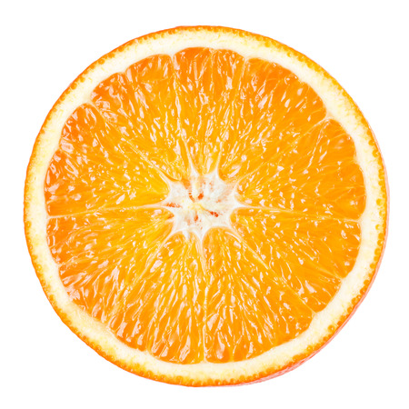 cut: Orange slice isolated on white background