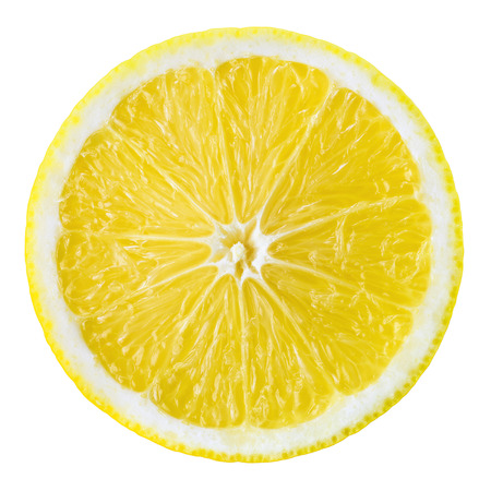 Lemon fruit slice. Circle isolated on white. Foto de archivo
