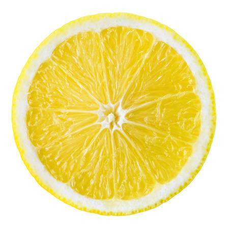 limon: Rodaja de limón fruta. Círculo aislado en blanco.