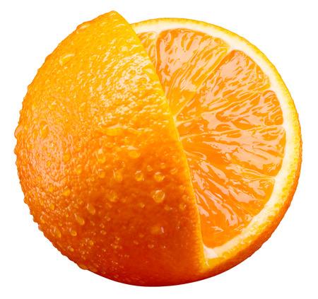 fruit orange: frutas de color naranja con el pedazo del corte aislado en blanco Foto de archivo