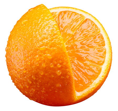 orange fruit: Orange fruit with cut piece isolated on white