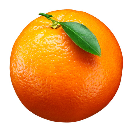 Orange fruit with leaf isolated on white. With clipping path Stockfoto