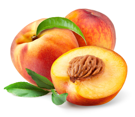 Peach. Fruits with leaves isolated on white background Banco de Imagens