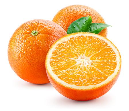 Orange fruit with wet leaves isolated on white