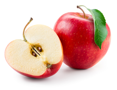 Red apple. Fruit with a half isolated on white.