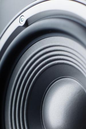Acoustic column. Musical speaker. Macro. Stockfoto