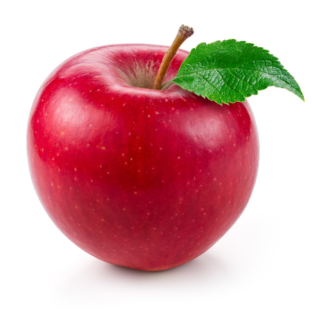 pomme rouge: Fresh red apple with leaf isolated on white. Banque d'images