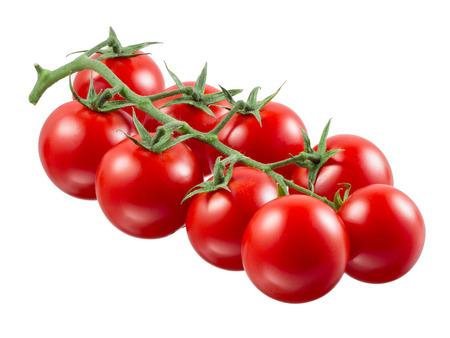 tomate cherry: Tomate cherry. Rama aislado en blanco