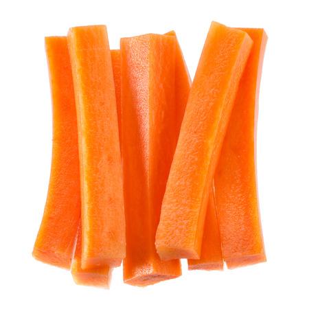 Carrot sticks isolated on white background. Stockfoto