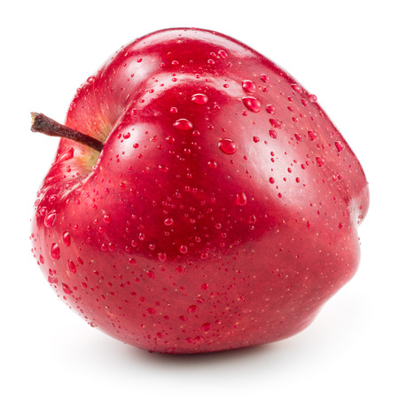 pomme rouge: Red apple with drops isolated on white.