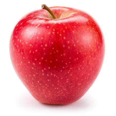 Dulce manzana roja aislado sobre fondo blanco.