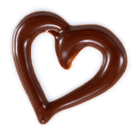 Chocolate heart isolated on white background Imagens
